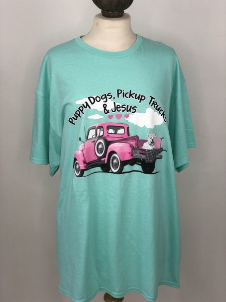 "XL ""Puppy Dogs, Pickup Trucks & Jesus"" Tee"