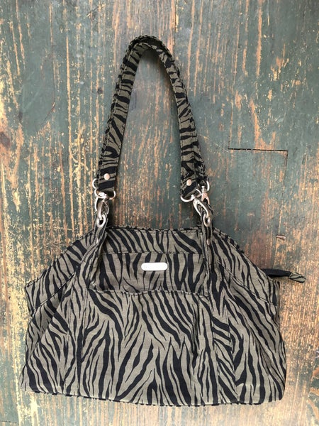 Baggalini Olive & Black Zebra Shoulder Bag