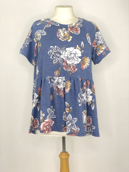 S ODDY Blue Heather Floral Babydoll Top