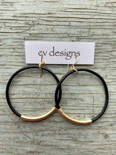 14 K Gold Filled Leather Hoop Earring