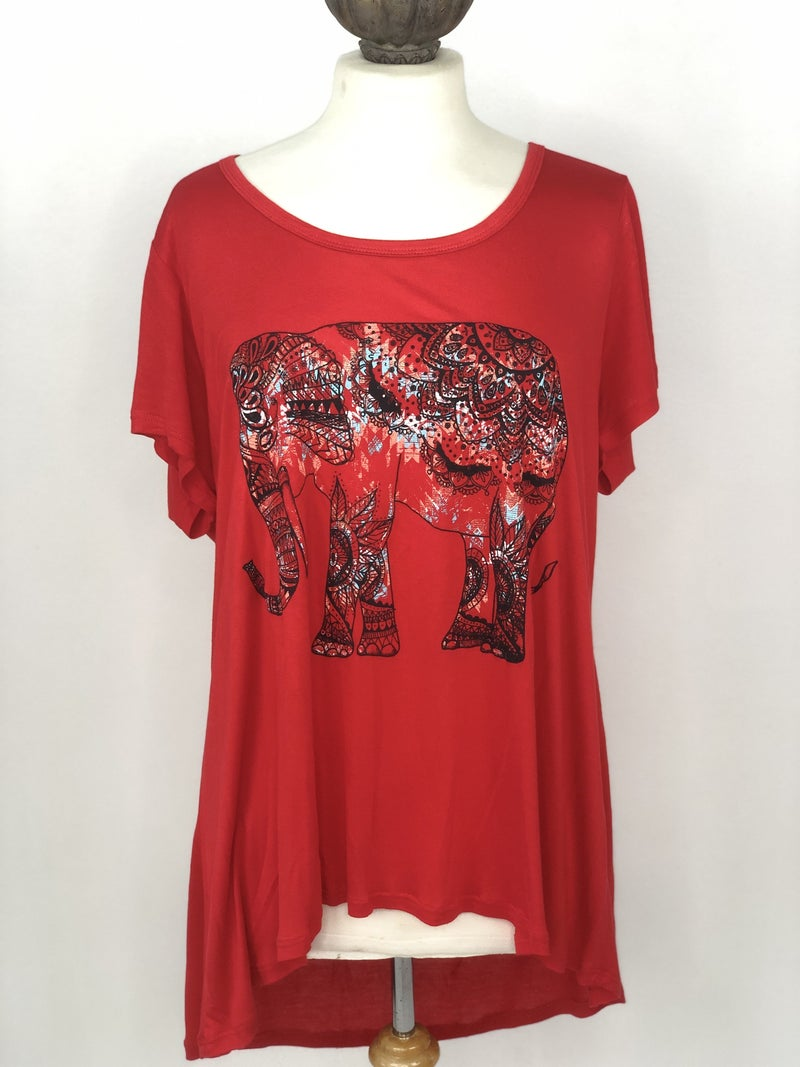 XL New Directions Red Elephant Tee