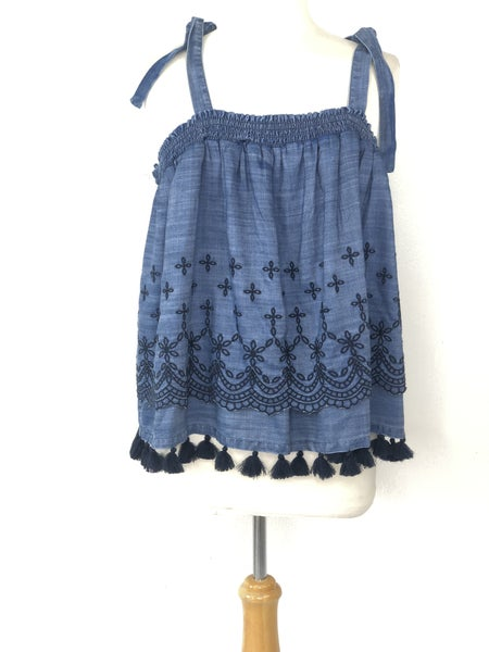XL Crown & Ivy Sleeveless Chambray Eyelet Top NWT