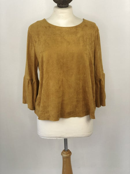 Sz. L Altered State Faux Suede Top with Bell Sleeves in Mustard