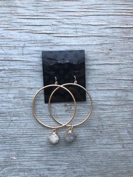 Gold Hoop Dangly Earrings with Amethyst Stones