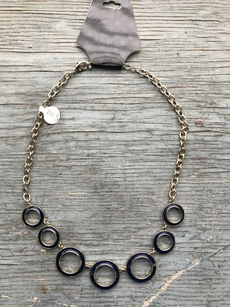 Gold Tone Navy Enamel Ring Necklace *As Is* Some Tarnishing