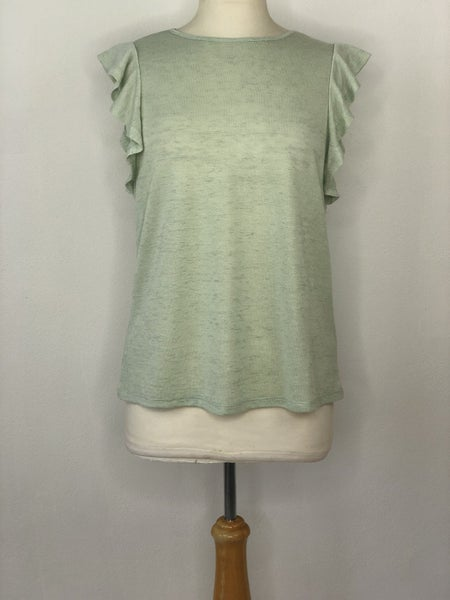 M A New Day Sage Green Flutter Sleeve Top