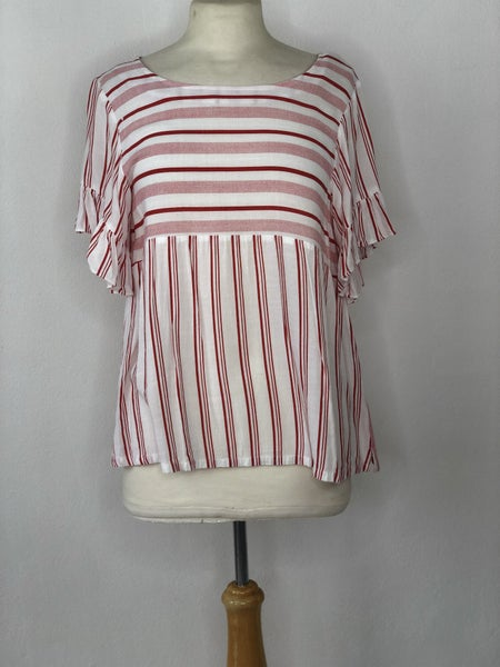 S Umgee Red/White Stripe Top