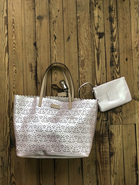 Coach Metro Eyelet Leather Tote in Pearl Pink Est Ret $398