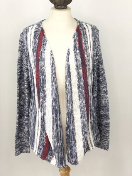 M J. Jill Blue/White/Red Knit Cardigan
