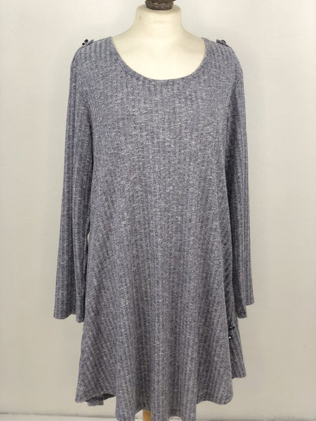 XXL Simply Noelle Heather Blue Ribbed Tunic