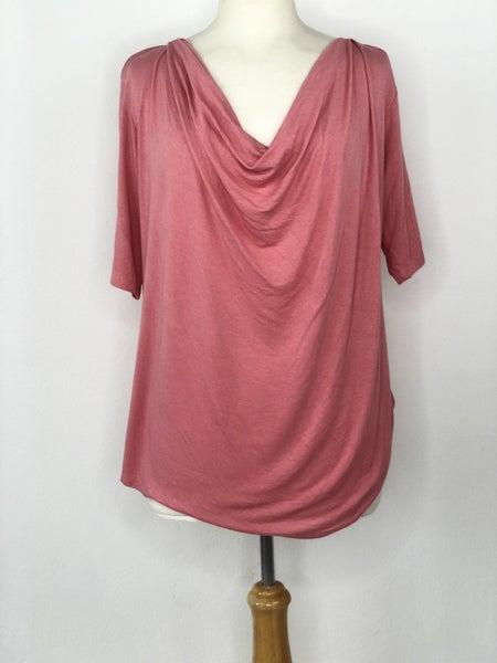 1X Femme Pink Drape Neck Top