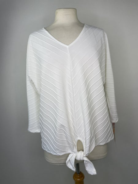 M Petite Ruby Rd. White Tie Front Top NWT Retail $55