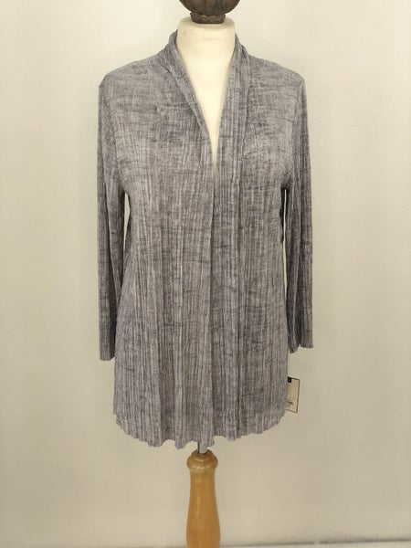 L Dana Buchman Gray Pleated Cardigan