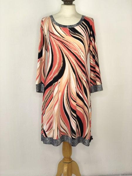 M Calvin Klein Coral Striped Dress
