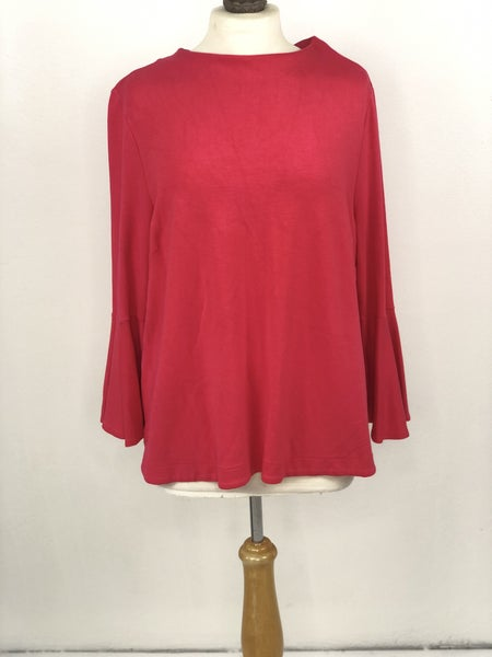XL Crown & Ivy Hot Pink Bell Sleeve Top