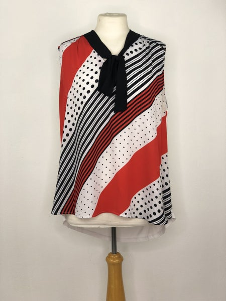 XXL New York & Co. White/Black/Red Tank Blouse
