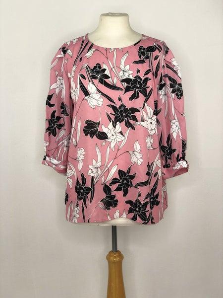 L Worthington Pink/Black/White Floral Blouse