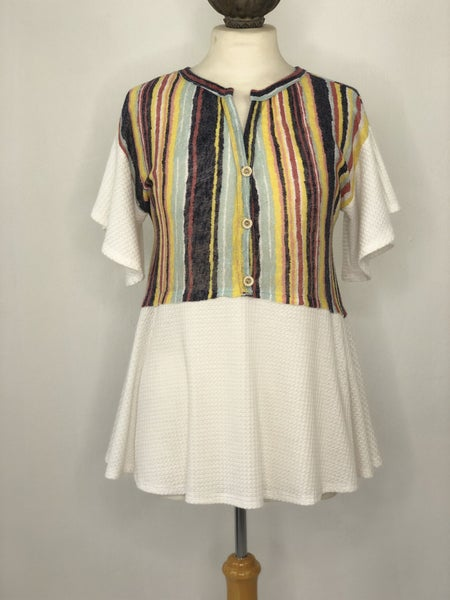 S Hopely White/ Multicolor Stripe Waffle Weave Top