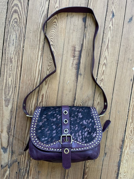 Sharif Leather Crossbody in Plum & Calf Hair *as is *small cut on strap