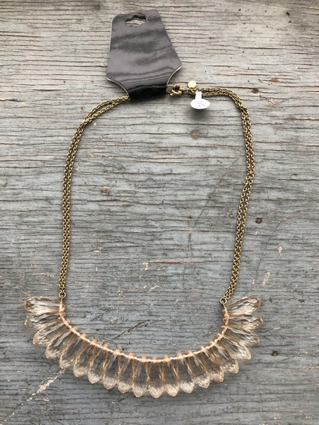Gold Tone Necklace w/ Champagne Beads