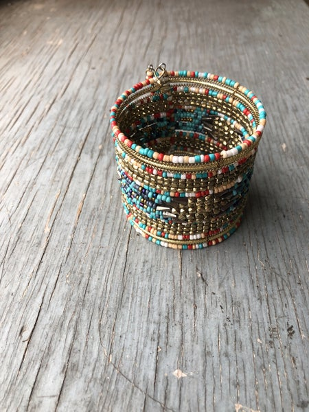 Beaded Coral Turquoise Cuff Bracelet