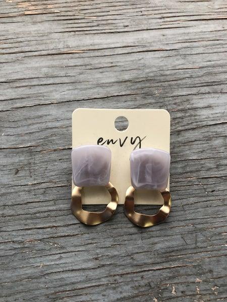 Envy Marble Stone & Oblong Circle Post Back Earring