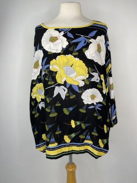 S John Paul Richard Yellow, Blue, & White Floral Top
