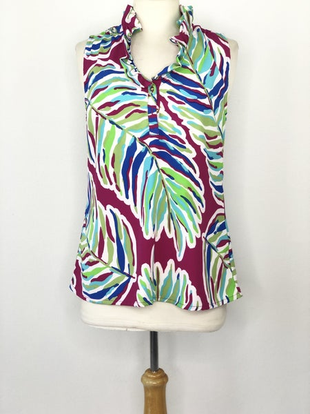 M Southern Frock Magenta/Green/Blue/ Leaf Print *As Is* Sign of Wear