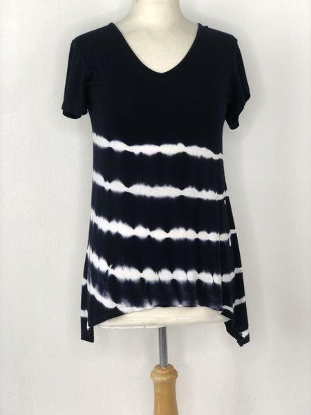 S Tryst Black/White Tie Dye Stripe Top
