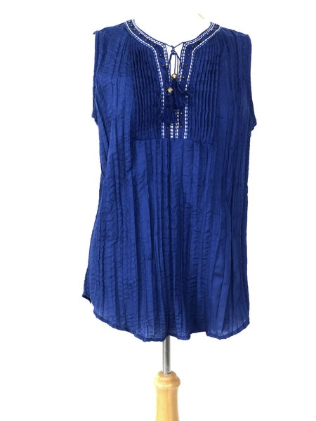 XL Kim Rogers Cobalt Blue Sleeveless Tunic