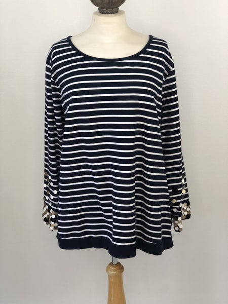 Sz. 3X Crown & Ivy Navy and White Striped Sweatshirt with Sequin detail on sleeves