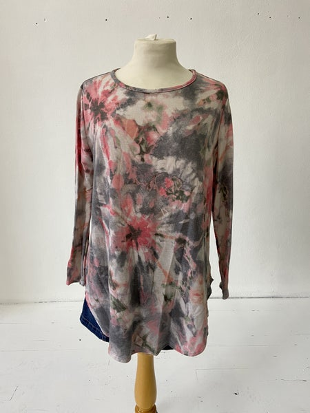 Grey and Pink Tie-Dye Top