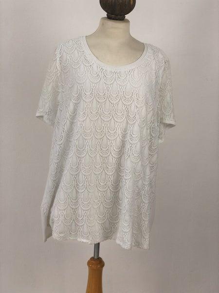 Sz 3X Isela Woman Ivory Lace Overlay Top