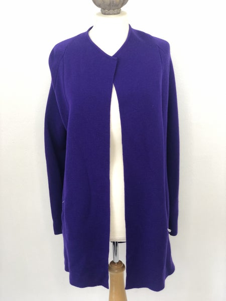 Sz M Talbots 100% Merino Wool Purple Open Front Sweater Jacket Ret. $159