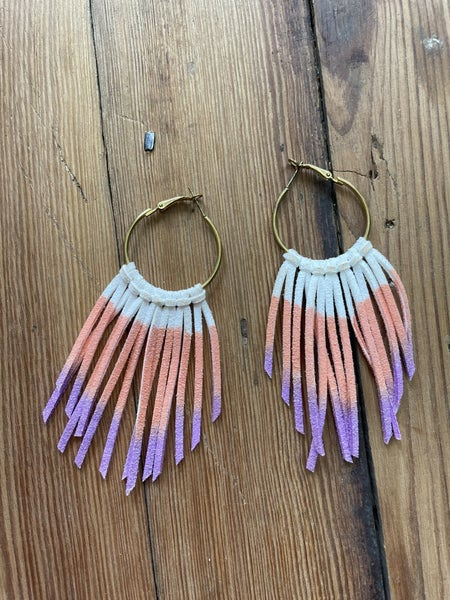 Orange, Purple, & Cream Leather Tassel Earrings *as is *makeup stain
