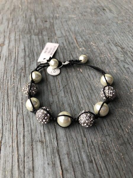 Faux Pearl & Silver Jeweled Adjustable Bracelet
