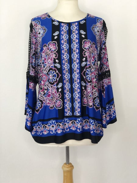 Lp New Directions Royal Blue/Black/Pink Paisley Top