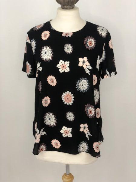 M LOFT Black Floral Blouse