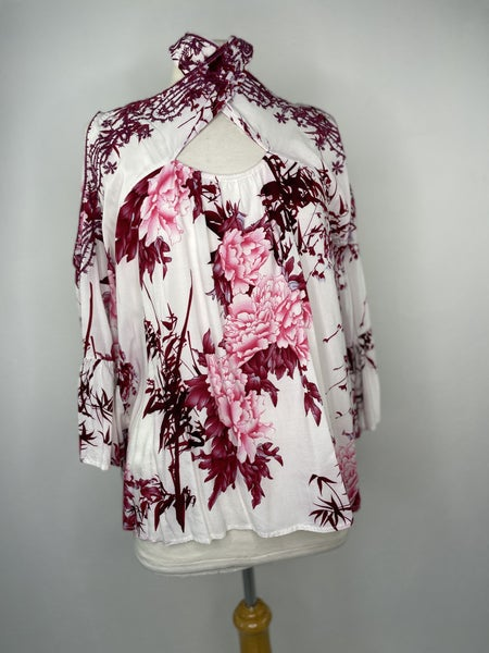 L Entro Pink Floral Blouse *as is *some run in colors