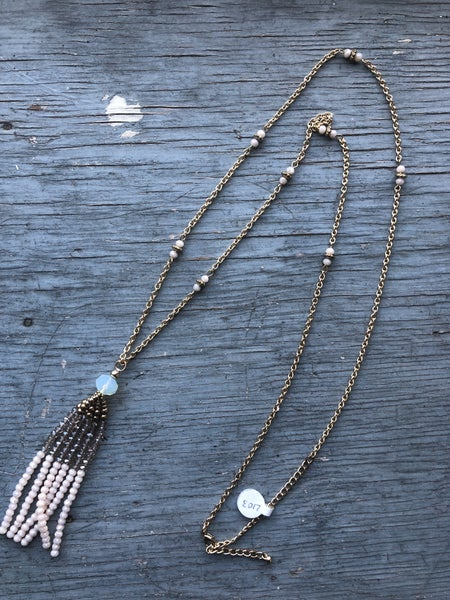 Gold Chain Necklace with Pink and Clear Beaded Tassel
