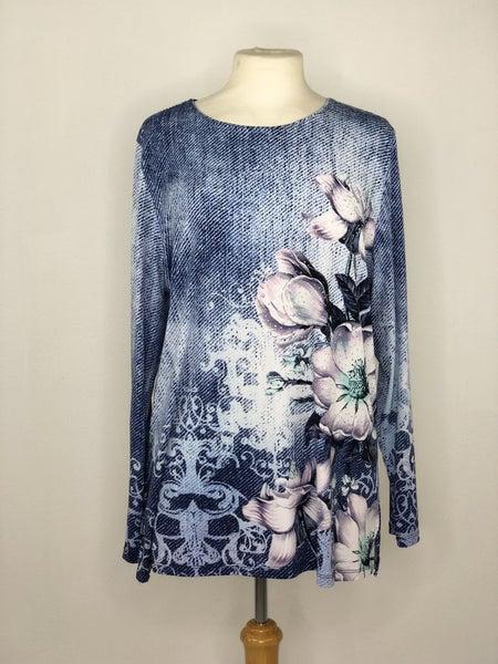 L Allison Dailey Blues Floral Studded Top