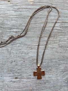 14 k Gold Filled Bronze Chain with Pewter Cross Necklace