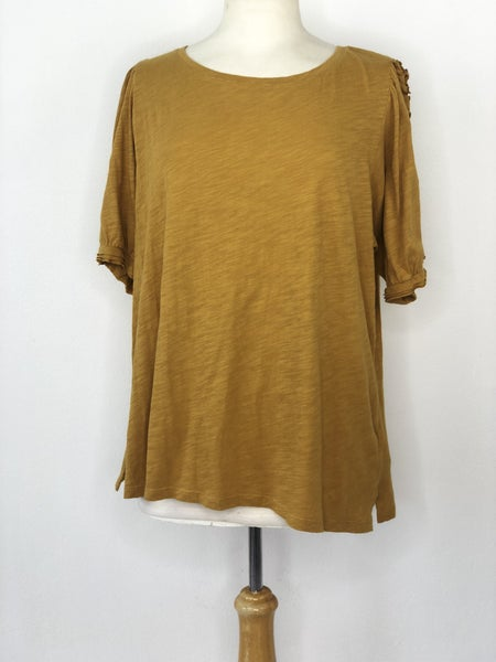 "XL Maeve by Anthropologie ""Clemence"" Top in Mustard"