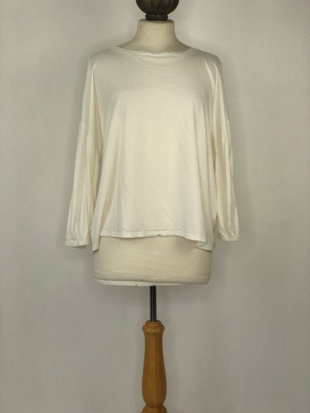 XL LOFT Ivory Puff Sleeve Top