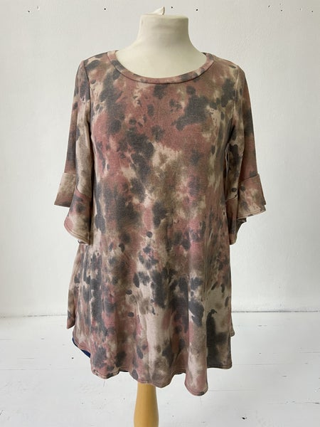 Rust Tie-Dye Ruffle Sleeve Top