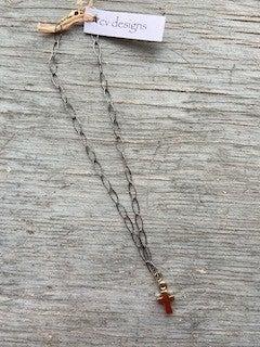 14 K Gold Filled Pewter Cross Necklace
