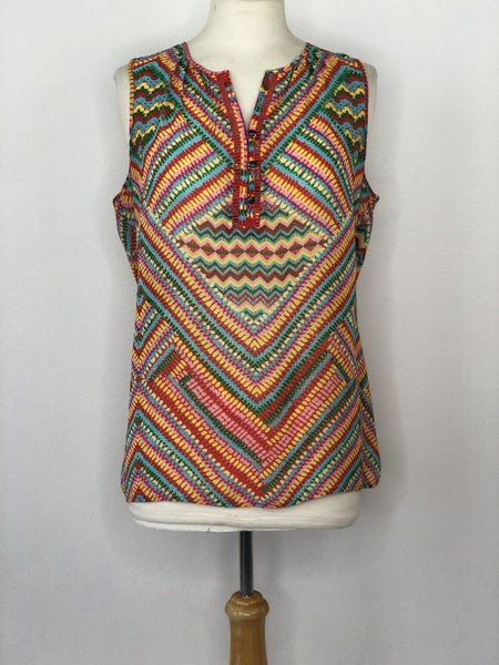 M Coldwater Creek Multicolor Red/Yellow/Green Sleeveless Blouse