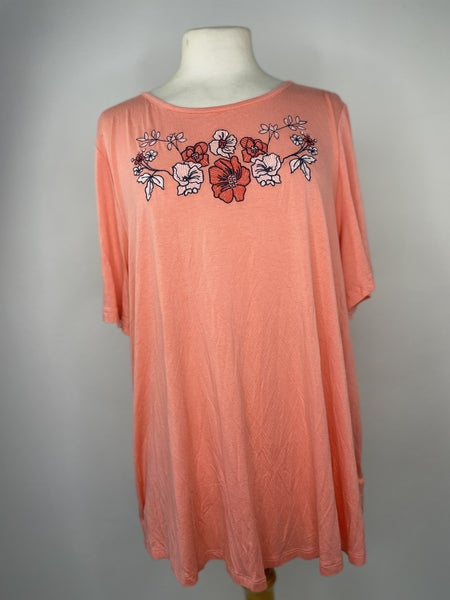 L Cato Pink Embroidered Tee