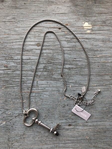 Chico's Silver Tone Necklace w/ Key Pendant NWT