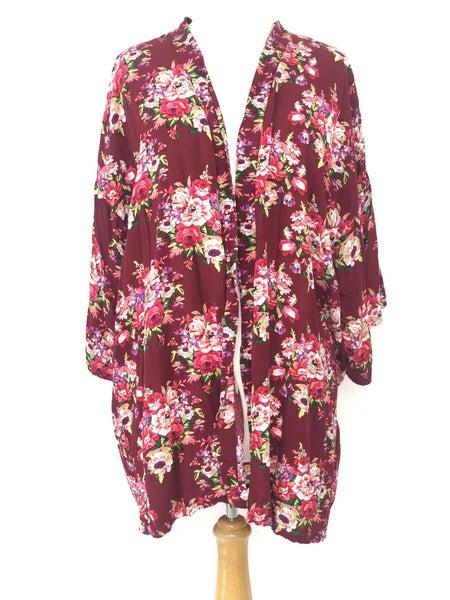 O/S Burgundy Floral Kimono